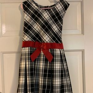 Plaid dress with red tie bow
